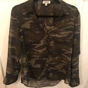 Camo Shear button up blouse